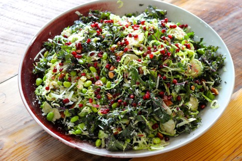 Shredded Kale and Brussel Sprout salad with almonds, Pecorina