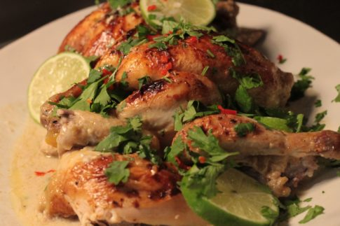 Poussin braised in coconut milk with ginger, garlic and lime