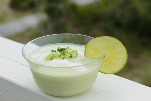 Chilled Avocado and Cucumber Soup with Coconut Milk and Tahini Drizzle